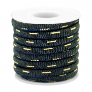 Trendy gesteppte Kordel Denim 6x4mm Indigo night blue-gold