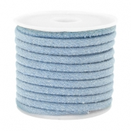 Trendy gesteppte Kordel Denim 4x3mm Light blue