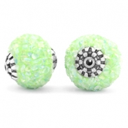 Bohemian Perlen 14mm Light green-silver