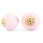 Bohemian Perlen 14mm Light pink rainbow-gold