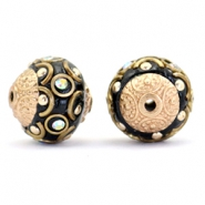 Bohemian Perlen 14mm Black-crystal AB-gold
