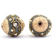 Bohemian Perlen 14mm Dark grey-crystal AB-gold