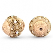 Bohemian Perlen 14mm Light brown-crystal AB-gold
