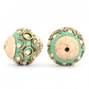 Bohemian Perlen 14mm Turquoise green-crystal AB-gold