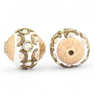Bohemian Perlen 14mm White-crystal AB-gold