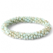 Facett Glas Armbänder Pale mint green-half gold diamond coating