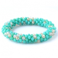 Facett Glas Armbänder Turquoise green-white (opal/diamond)