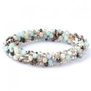 Facett Glas Armbänder Light blue-greige mixed colours (metallic/opal/diamond)