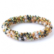 Facett Glas Armbänder Green-white-copper mixed colours (metallic/opal/diamond)