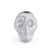 Hematite Perlen Skull Light grey matt