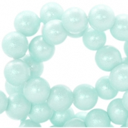 8 mm Glasperlen Pearl Glitter Pastel mint blue