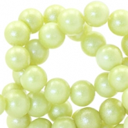 8 mm Glasperlen Pearl Glitter Tender yellow green