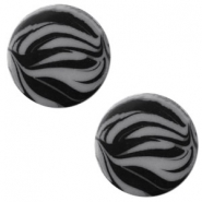 12 mm flach Cabochon Polaris Elements Zebra Silver night