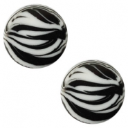 12 mm flach Cabochon Polaris Elements Zebra Ice grey