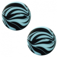 12 mm flach Cabochon Polaris Elements Zebra Soft lagoon blue