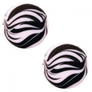12 mm flach Cabochon Polaris Elements Zebra Lilac purple