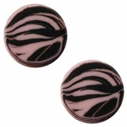 12 mm flach Cabochon Polaris Elements Zebra Taupe brown