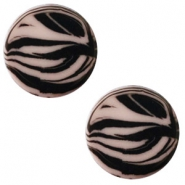 12 mm flach Cabochon Polaris Elements Zebra Greige