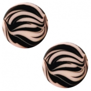 12 mm flach Cabochon Polaris Elements Zebra Light vintage rose