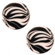 12 mm flach Cabochon Polaris Elements Zebra Rosa pink