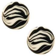 12 mm flach Cabochon Polaris Elements Zebra Silk beige