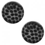 12 mm flach Cabochon Polaris Elements Leopard Silver night