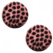 12 mm flach Cabochon Polaris Elements Leopard Peachy coral pink