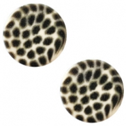 12 mm flach Cabochon Polaris Elements Leopard Silk beige