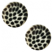 12 mm flach Cabochon Polaris Elements Leopard Light silver shade