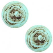 12 mm flach Cabochon Polaris Elements Stone Look Turquoise -brown