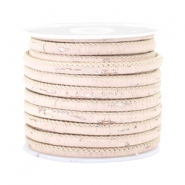 Trendy Kork gesteppt 4x3mm Vintage light peachy beige