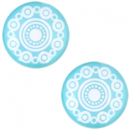 "Cabochon Basic  ""Zeeuwse knop"" (Trachtenknopf) 12mm Turquoise blue"
