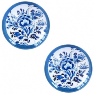 Cabochon Basic Delfts blau Blumen 20mm White-blue
