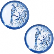 Cabochon Basic Delfts blau Pfau 20mm White-blue