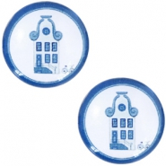 Cabochon Basic Delfts blau Haus 20mm White-blue