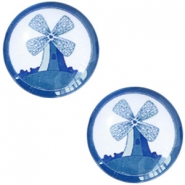 Cabochon Basic Delfts blau Windmühle 20mm White-blue