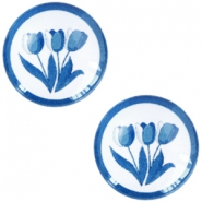 Cabochon Basic Delfts blau Tulpen 12mm White-blue