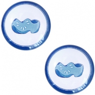 Cabochon Basic Delfts blau Klumpen 12mm White-blue
