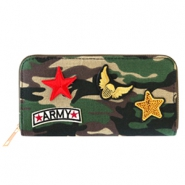 Trendy Portemonnaie mit Patches Army Green-brown