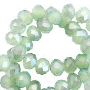 Top Facet Perlen 6x4 mm disc Crysolite green opal-pearl high shine coating