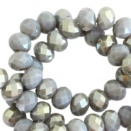 Top Facet Perlen 8x6 mm disc Grey shadow-half champagne pearl shine coating