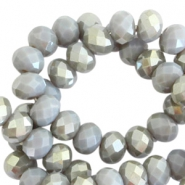 Top Facet Perlen 4x3 mm disc Grey shadow opal-half champagne pearl shine coating