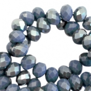 Top Facet Perlen 6x4 mm disc Crown blue-half fossil grey pearl high shine coating