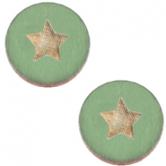 Holz Cabochon Star 20mm Pine green