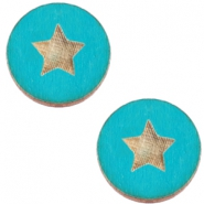 Holz Cabochon Star 20mm Dark ocean blue