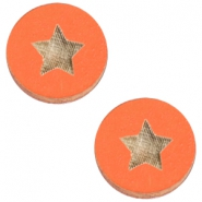 Holz Cabochon Star 20mm Orange