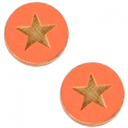 Holz Cabochon Star 12mm Orange