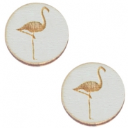 Holz Cabochon Flamingo 20mm Grey