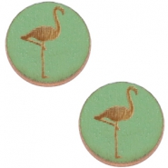 Holz Cabochon Flamingo 20mm Pine green