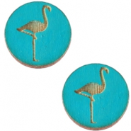 Holz Cabochon Flamingo 20mm Dark ocean blue